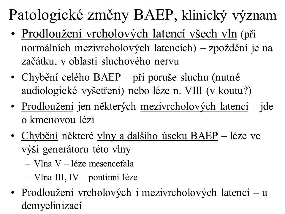 Patologické změny BAEP, klinický význam