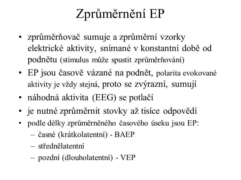 Zprůměrnění EP zprůměrňovač sumuje a zprůměrní vzorky elektrické aktivity, snímané v konstantní době od podnětu (stimulus může spustit zprůměrňování)