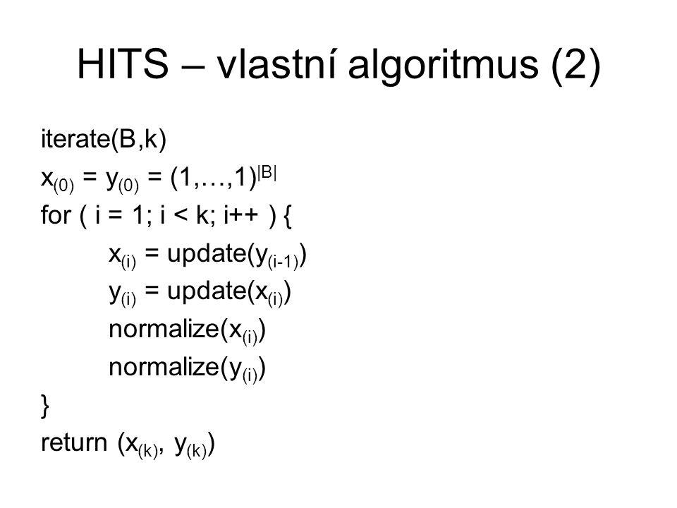 HITS – vlastní algoritmus (2)