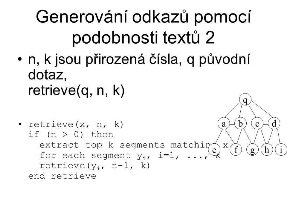 Generování odkazů pomocí podobnosti textů 2