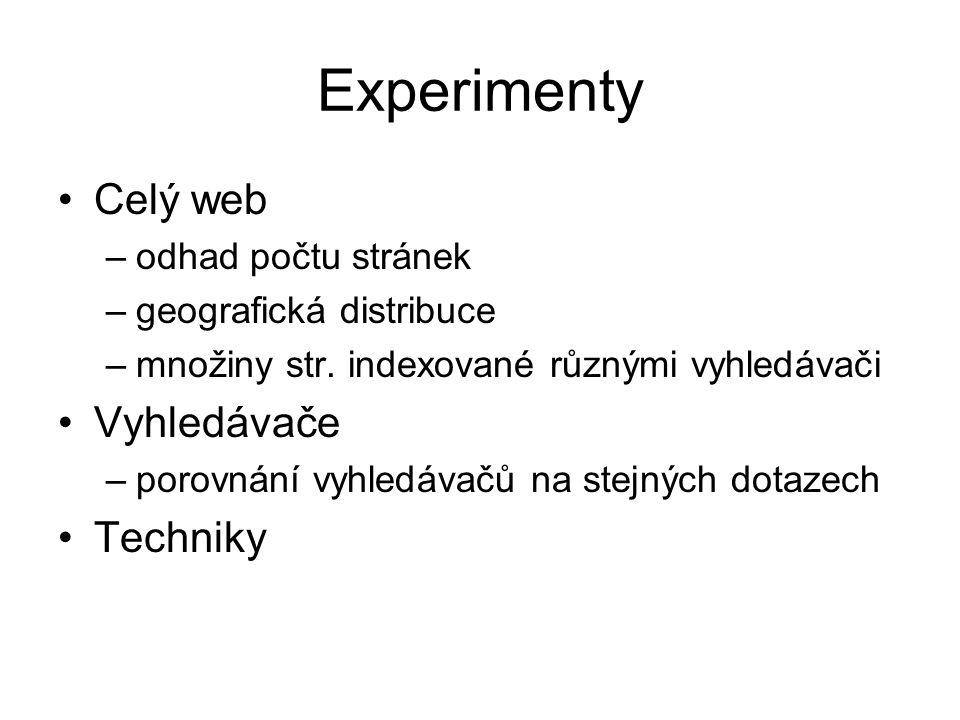 Experimenty Celý web Vyhledávače Techniky odhad počtu stránek