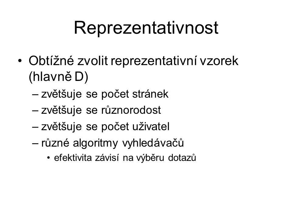 Reprezentativnost Obtížné zvolit reprezentativní vzorek (hlavně D)