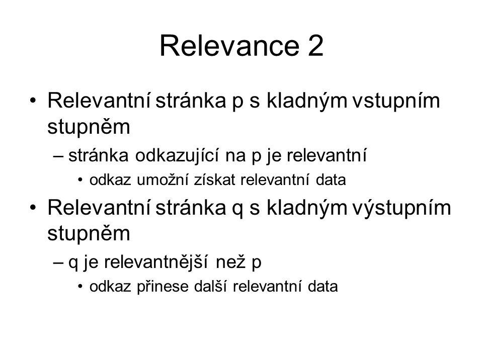 Relevance 2 Relevantní stránka p s kladným vstupním stupněm