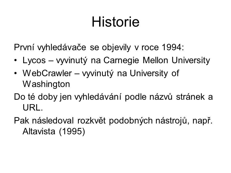 Historie První vyhledávače se objevily v roce 1994: