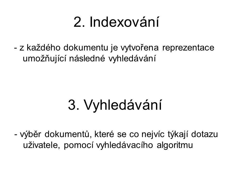 2. Indexování 3. Vyhledávání