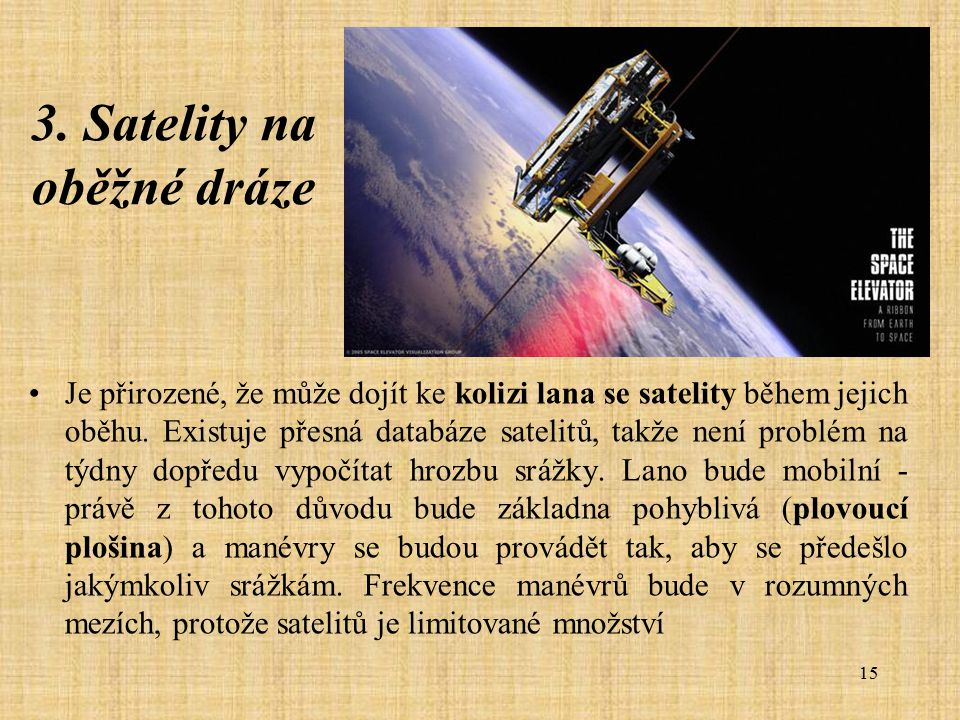 3. Satelity na oběžné dráze