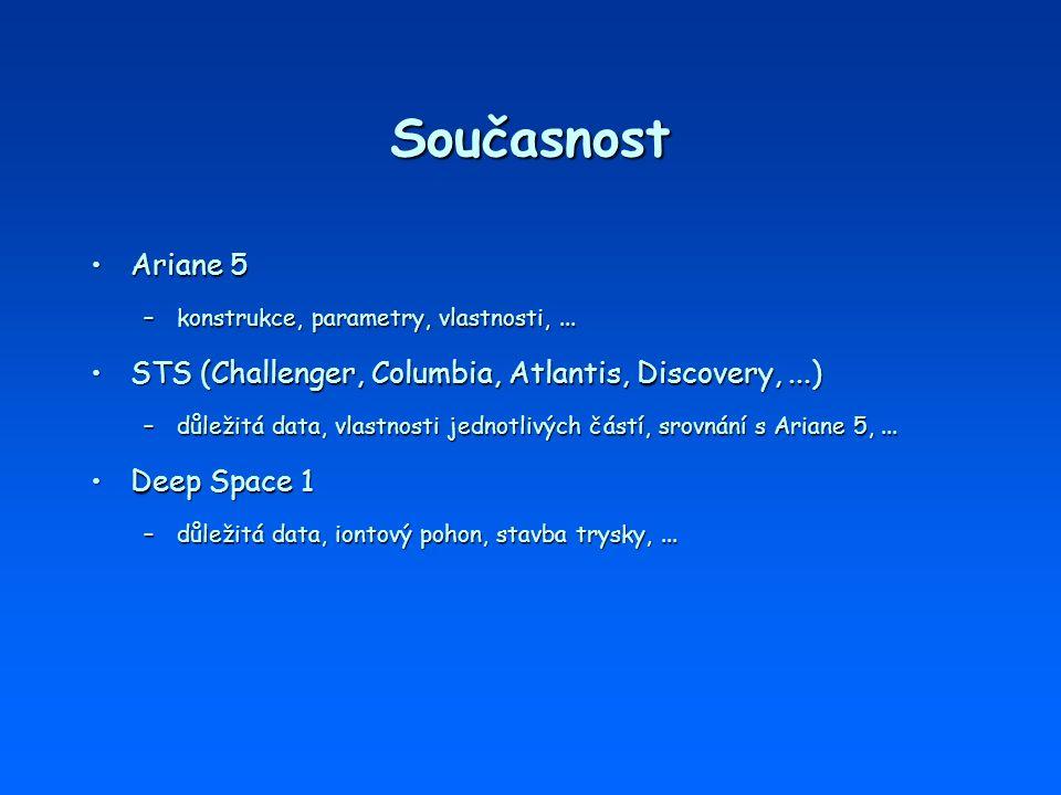 Současnost Ariane 5. konstrukce, parametry, vlastnosti, ... STS (Challenger, Columbia, Atlantis, Discovery, ...)