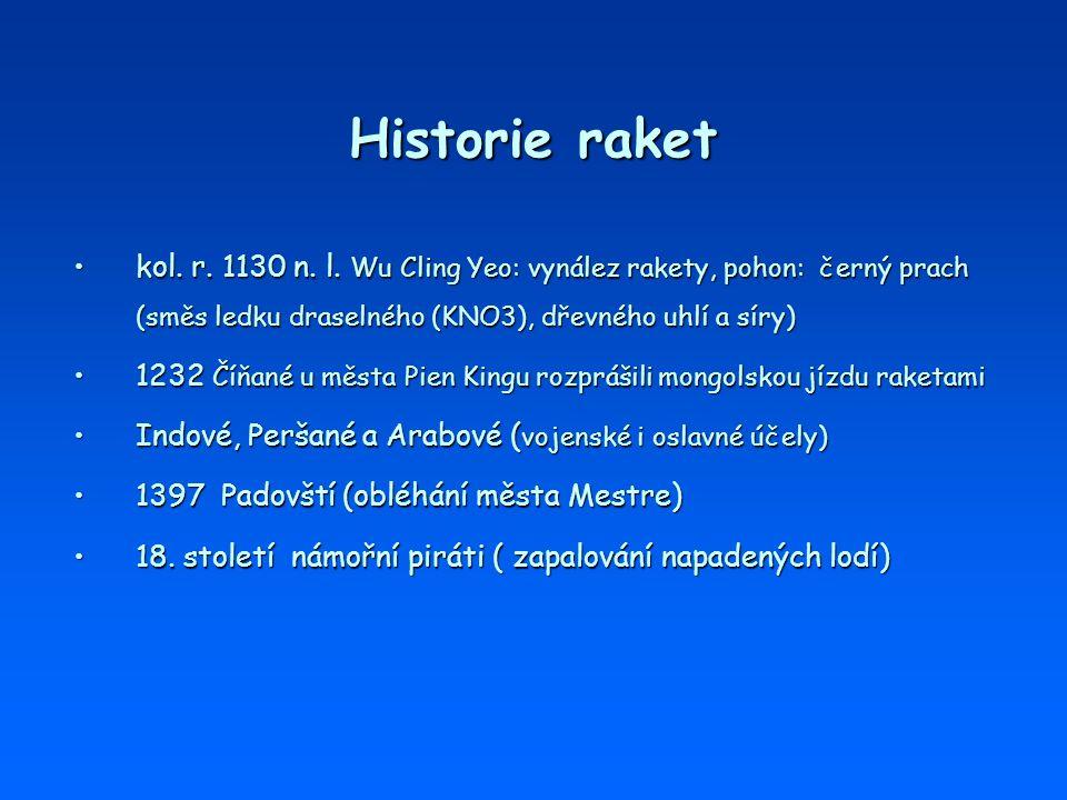 Historie raket kol. r. 1130 n. l. Wu Cling Yeo: vynález rakety, pohon: černý prach (směs ledku draselného (KNO3), dřevného uhlí a síry)