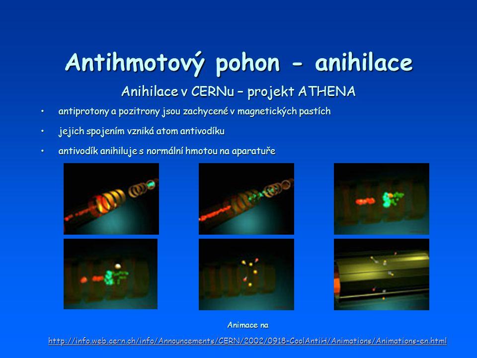 Antihmotový pohon - anihilace