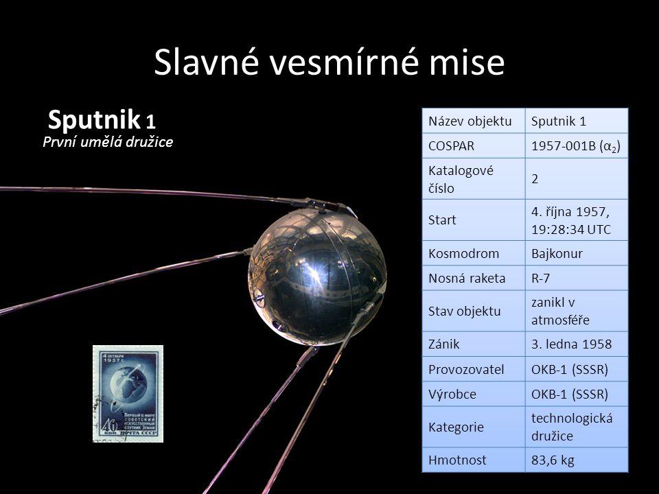 Slavné vesmírné mise Sputnik 1 První umělá družice Název objektu