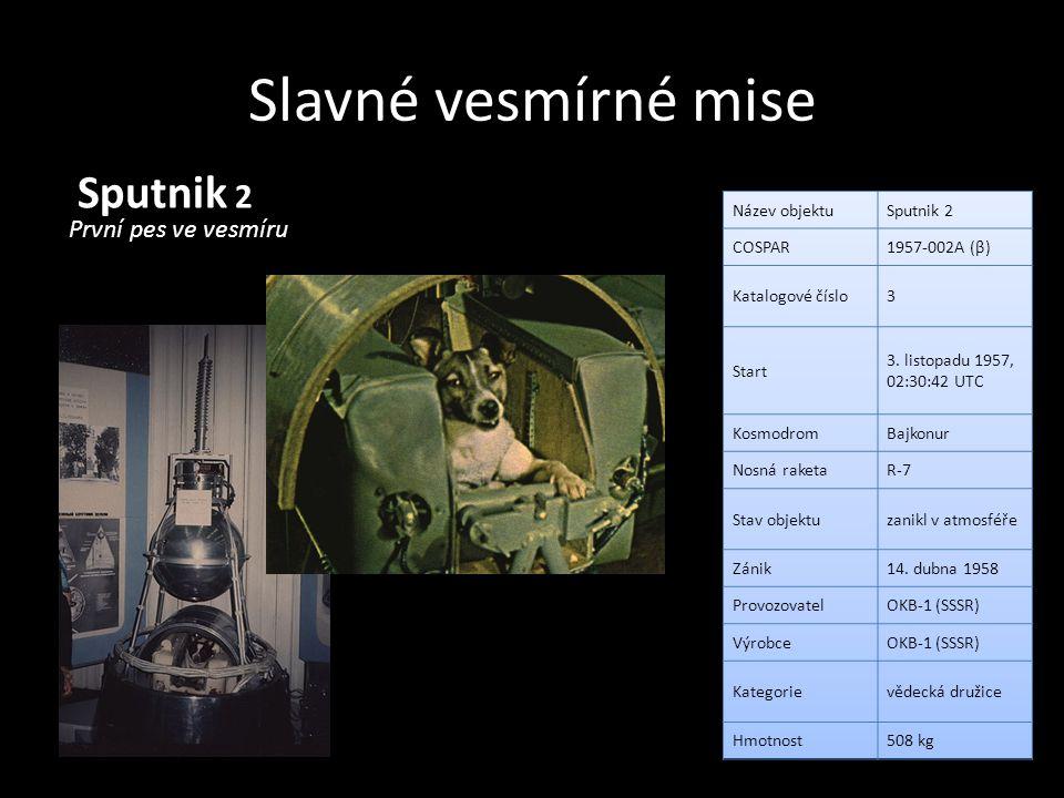 Slavné vesmírné mise Sputnik 2 První pes ve vesmíru Název objektu