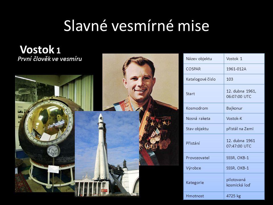 Slavné vesmírné mise Vostok 1 První člověk ve vesmíru Název objektu