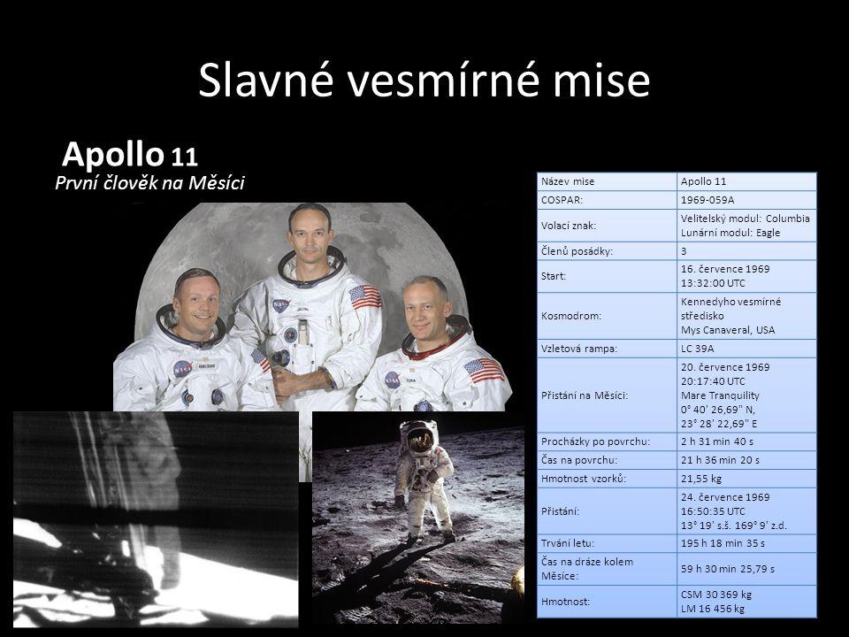 Slavné vesmírné mise Apollo 11 První člověk na Měsíci Název mise