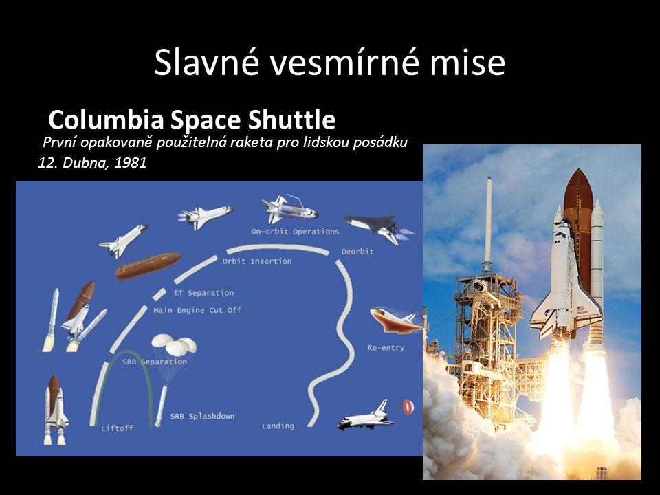 Slavné vesmírné mise Columbia Space Shuttle