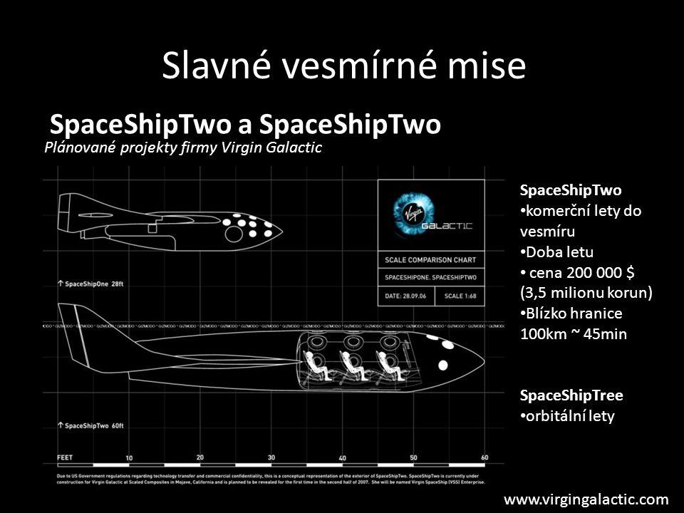 Slavné vesmírné mise SpaceShipTwo a SpaceShipTwo