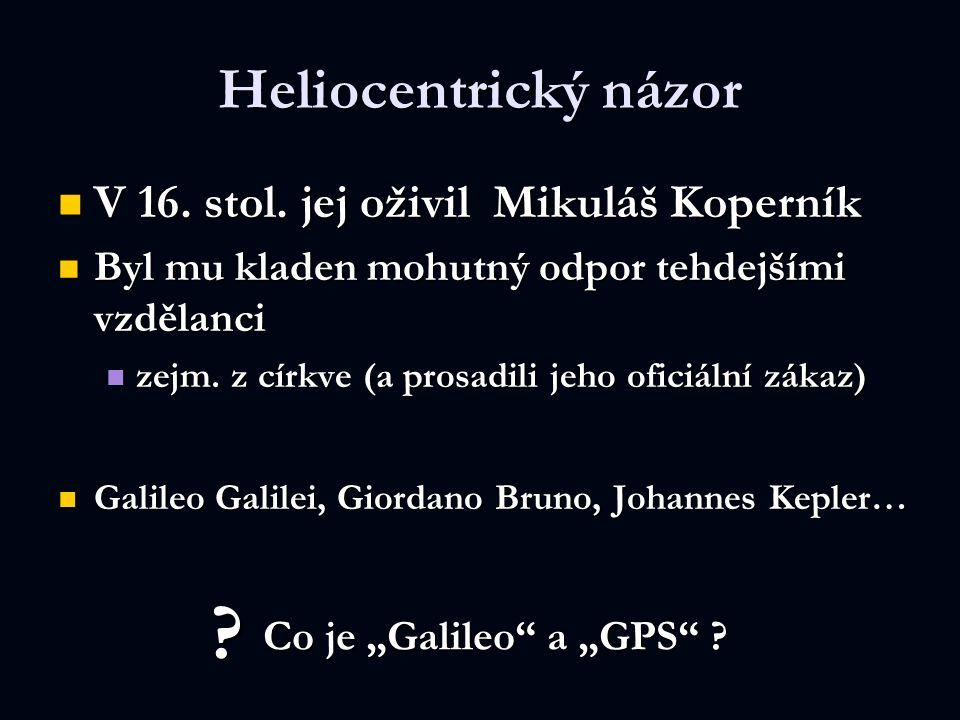 Heliocentrický názor V 16. stol. jej oživil Mikuláš Koperník