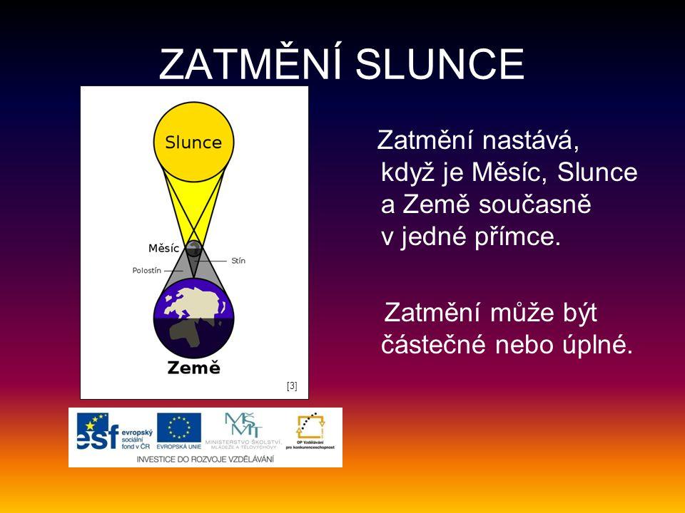 ZATMĚNÍ SLUNCE Zatmění nastává, když je Měsíc, Slunce a Země současně v jedné přímce. Zatmění může být částečné nebo úplné.