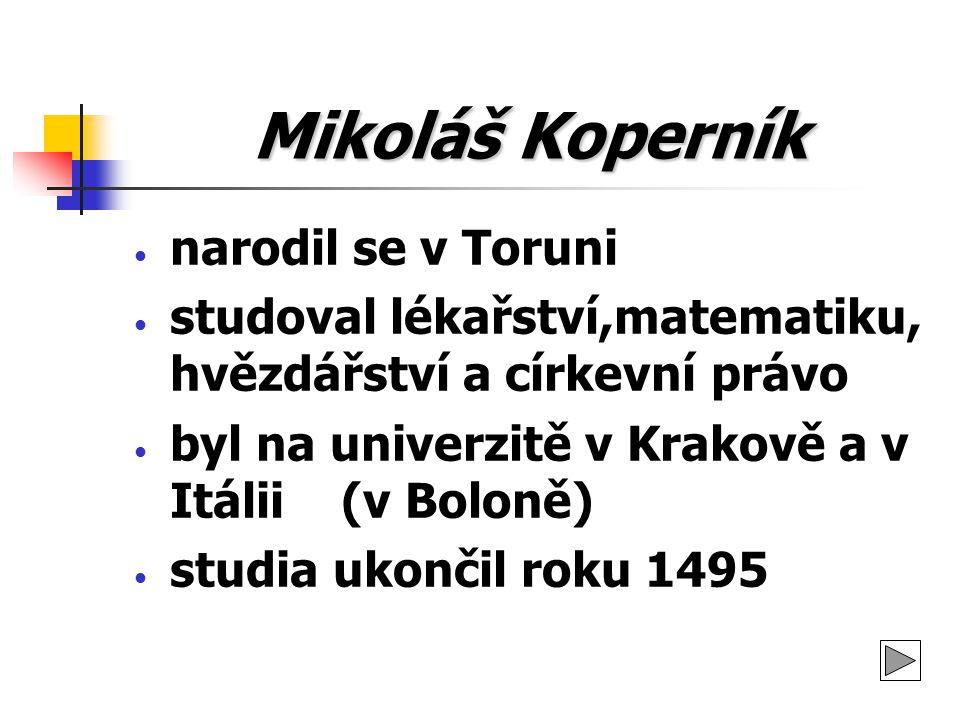 Mikoláš Koperník narodil se v Toruni