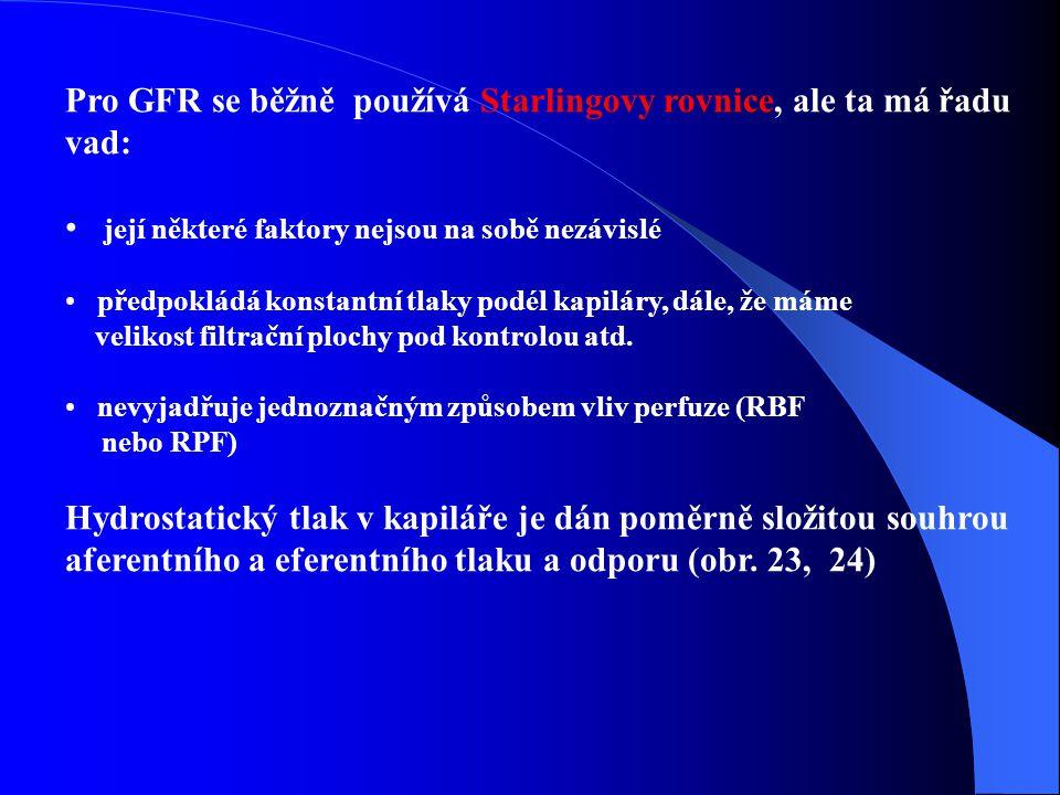 Pro GFR se běžně používá Starlingovy rovnice, ale ta má řadu vad: