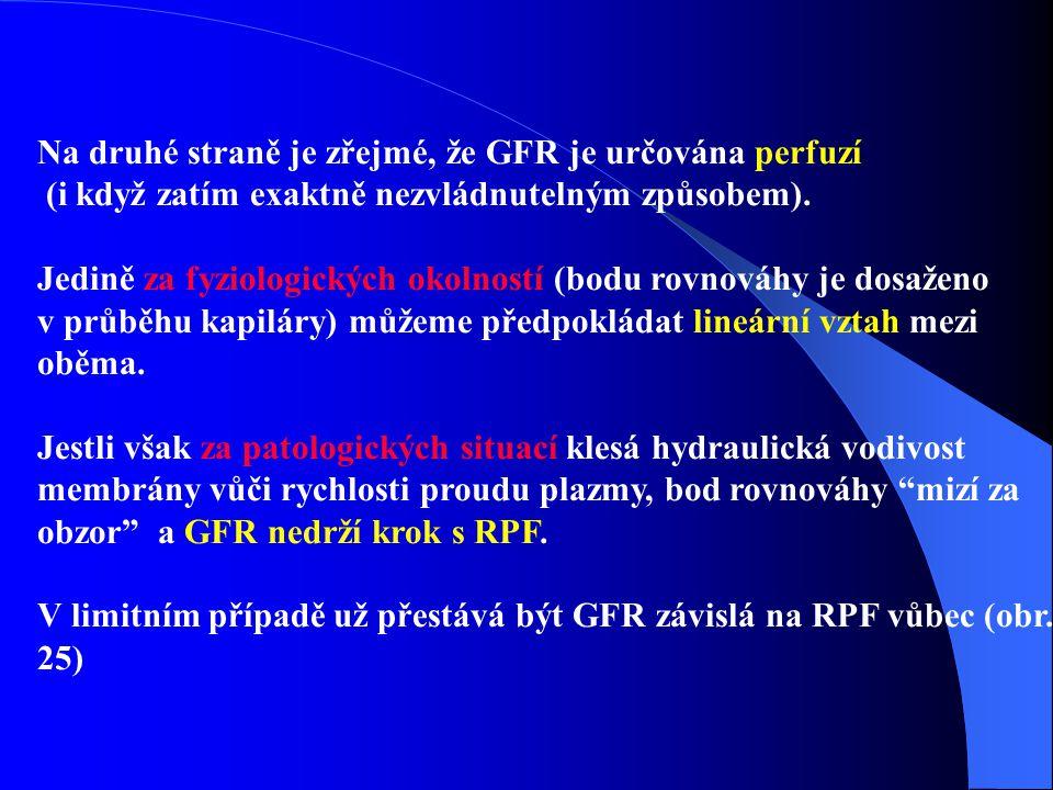 Na druhé straně je zřejmé, že GFR je určována perfuzí