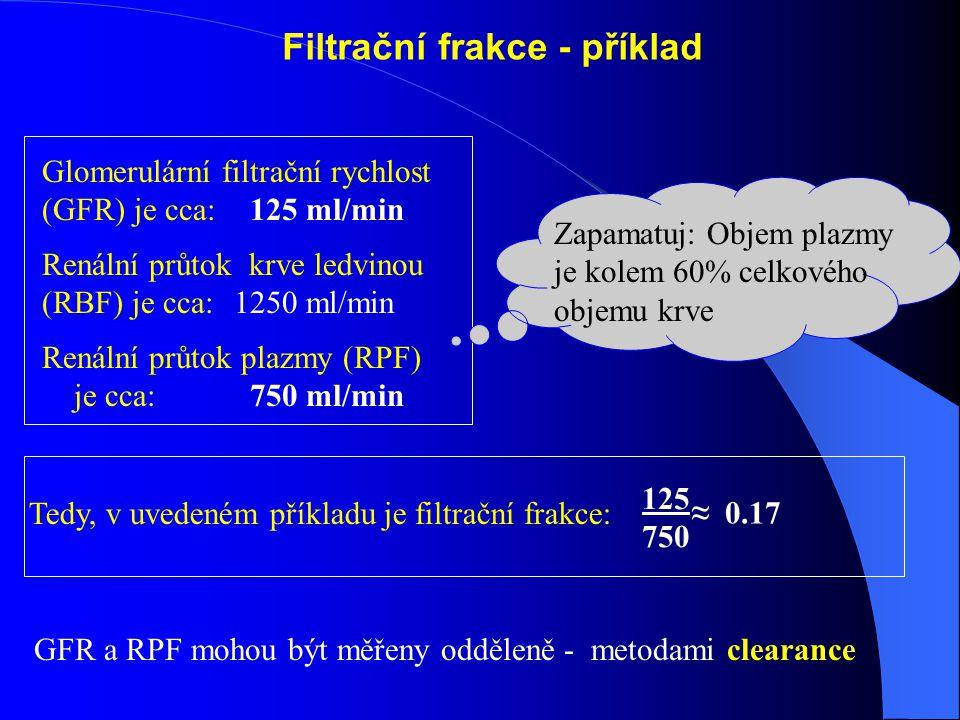 Filtrační frakce - příklad