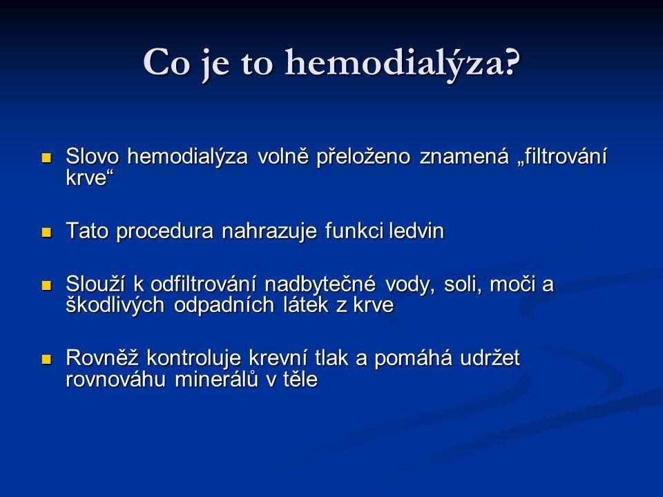 """Co je to hemodialýza Slovo hemodialýza volně přeloženo znamená """"filtrování krve Tato procedura nahrazuje funkci ledvin."""