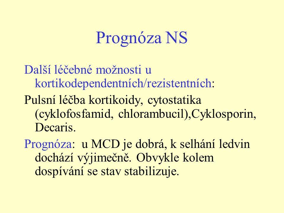 Prognóza NS Další léčebné možnosti u kortikodependentních/rezistentních: