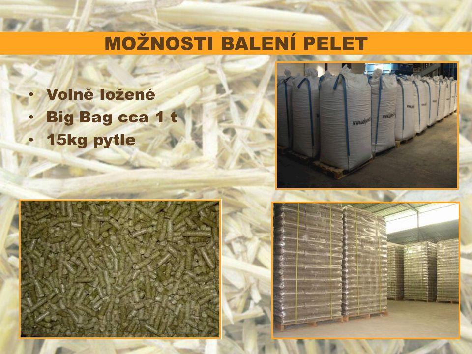 MOŽNOSTI BALENÍ PELET Volně ložené Big Bag cca 1 t 15kg pytle