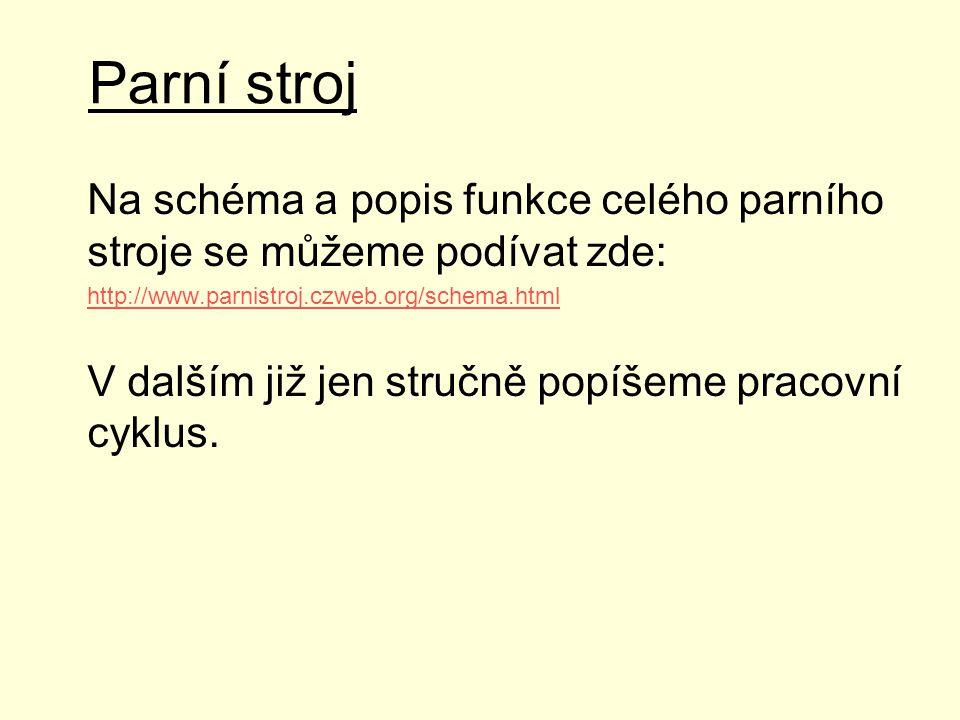 Parní stroj Na schéma a popis funkce celého parního stroje se můžeme podívat zde: http://www.parnistroj.czweb.org/schema.html.