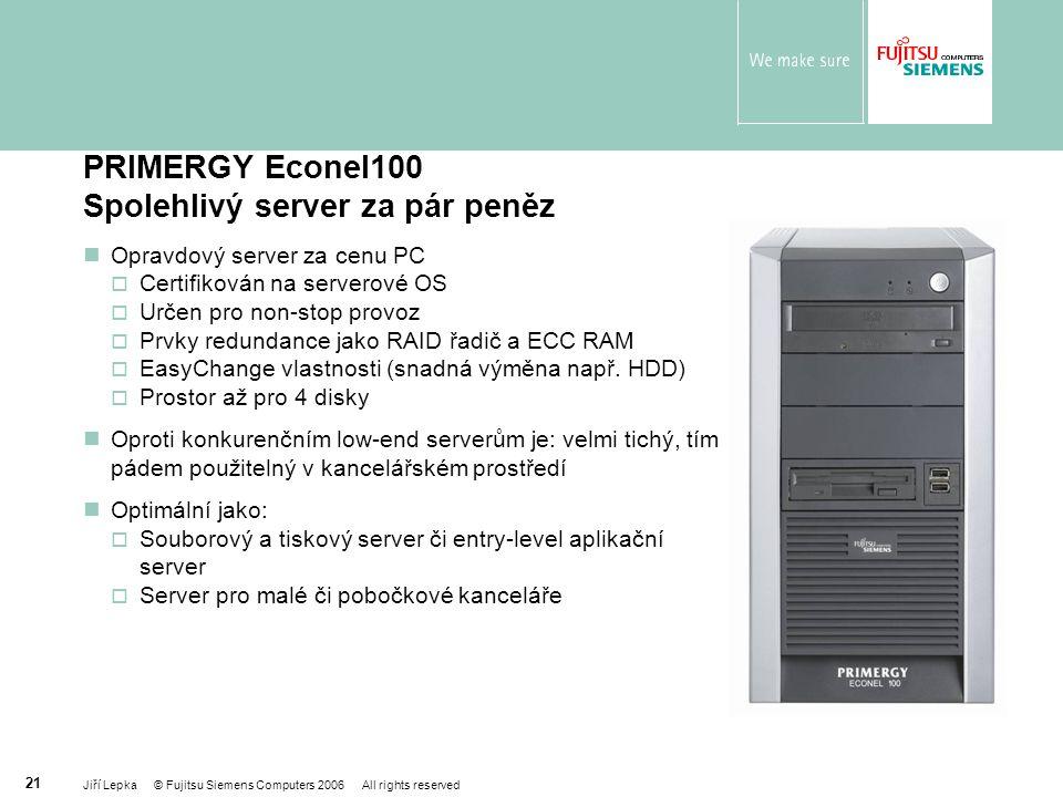 PRIMERGY Econel100 Spolehlivý server za pár peněz