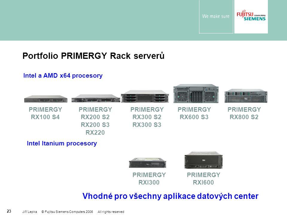 Portfolio PRIMERGY Rack serverů