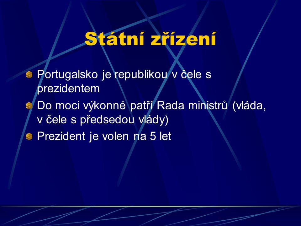 Státní zřízení Portugalsko je republikou v čele s prezidentem