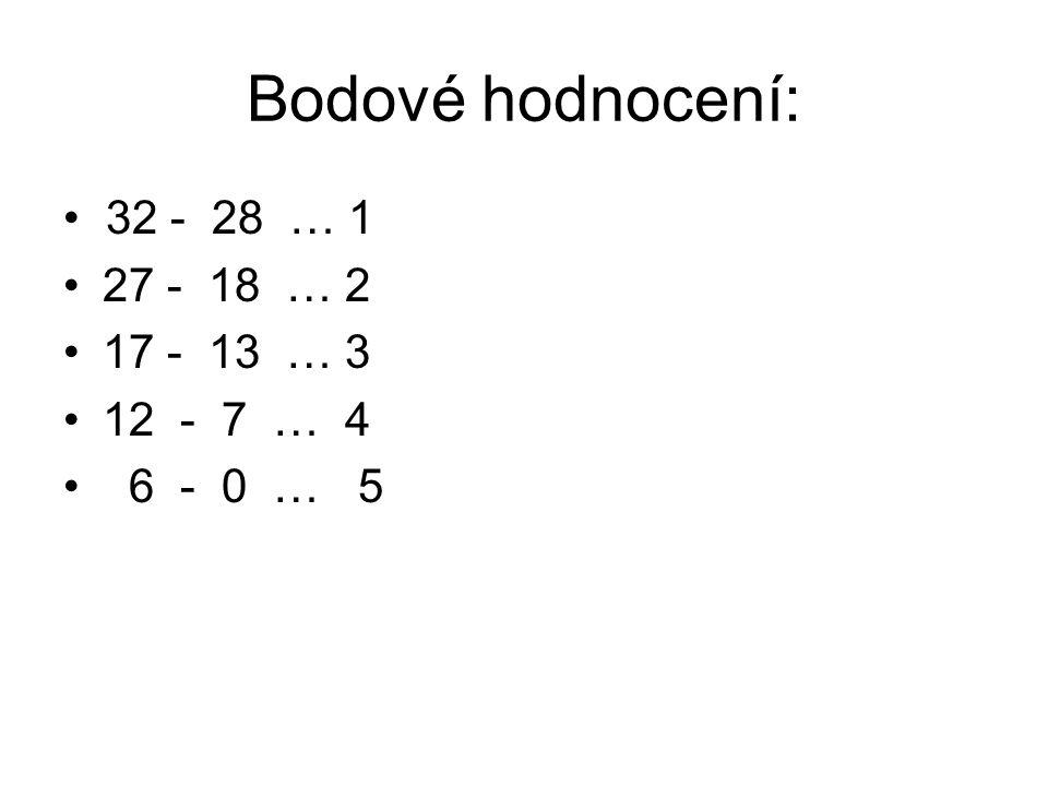 Bodové hodnocení: • 32 - 28 … 1 27 - 18 … 2 17 - 13 … 3 12 - 7 … 4