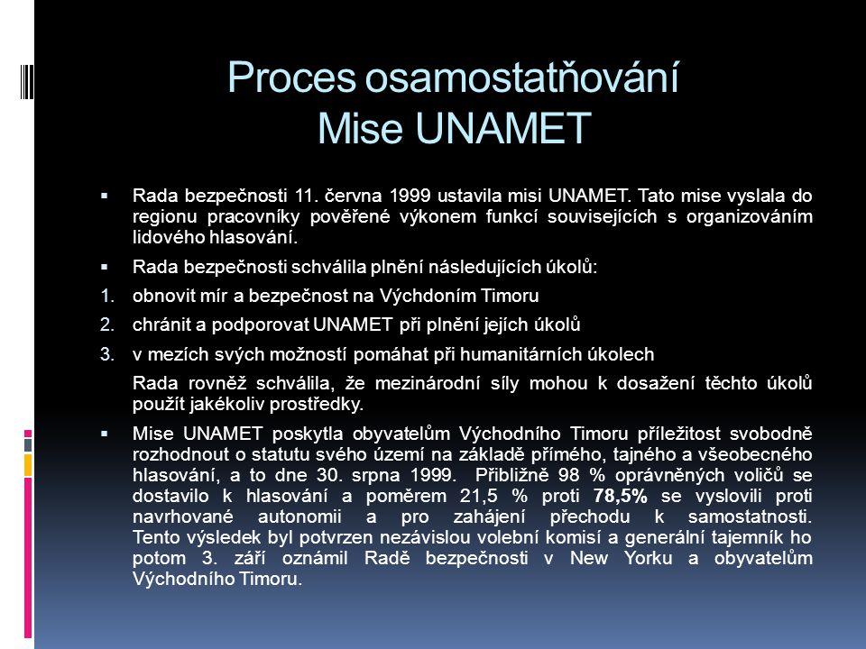 Proces osamostatňování Mise UNAMET