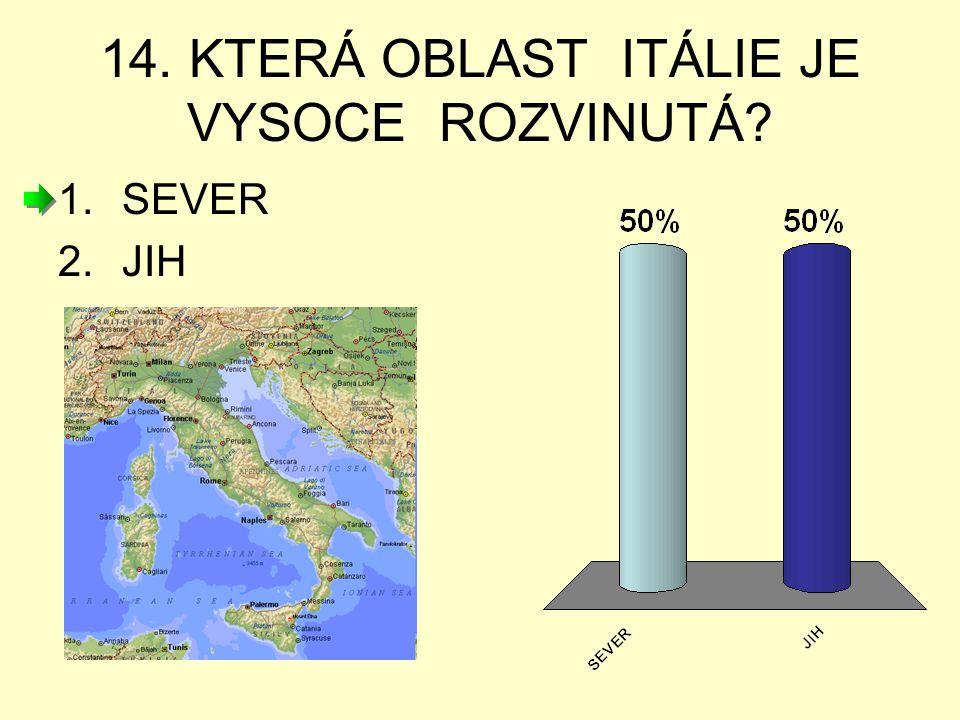 14. KTERÁ OBLAST ITÁLIE JE VYSOCE ROZVINUTÁ