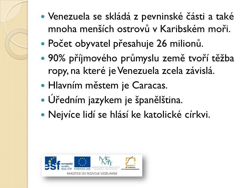 Venezuela se skládá z pevninské části a také mnoha menších ostrovů v Karibském moři.