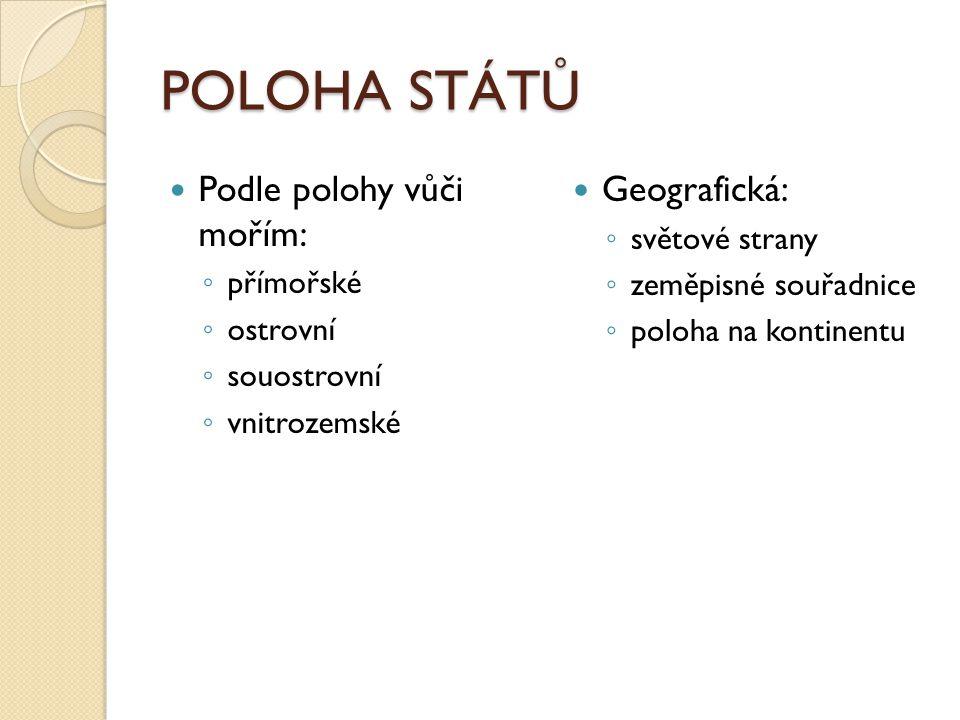 POLOHA STÁTŮ Podle polohy vůči mořím: Geografická: světové strany