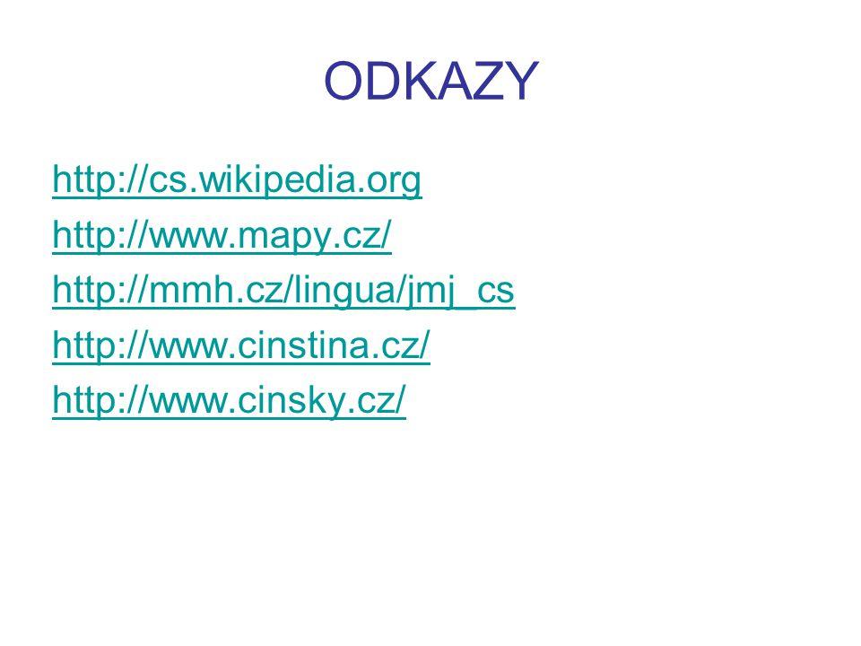 ODKAZY http://cs.wikipedia.org http://www.mapy.cz/