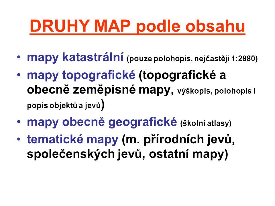 DRUHY MAP podle obsahu mapy katastrální (pouze polohopis, nejčastěji 1:2880)