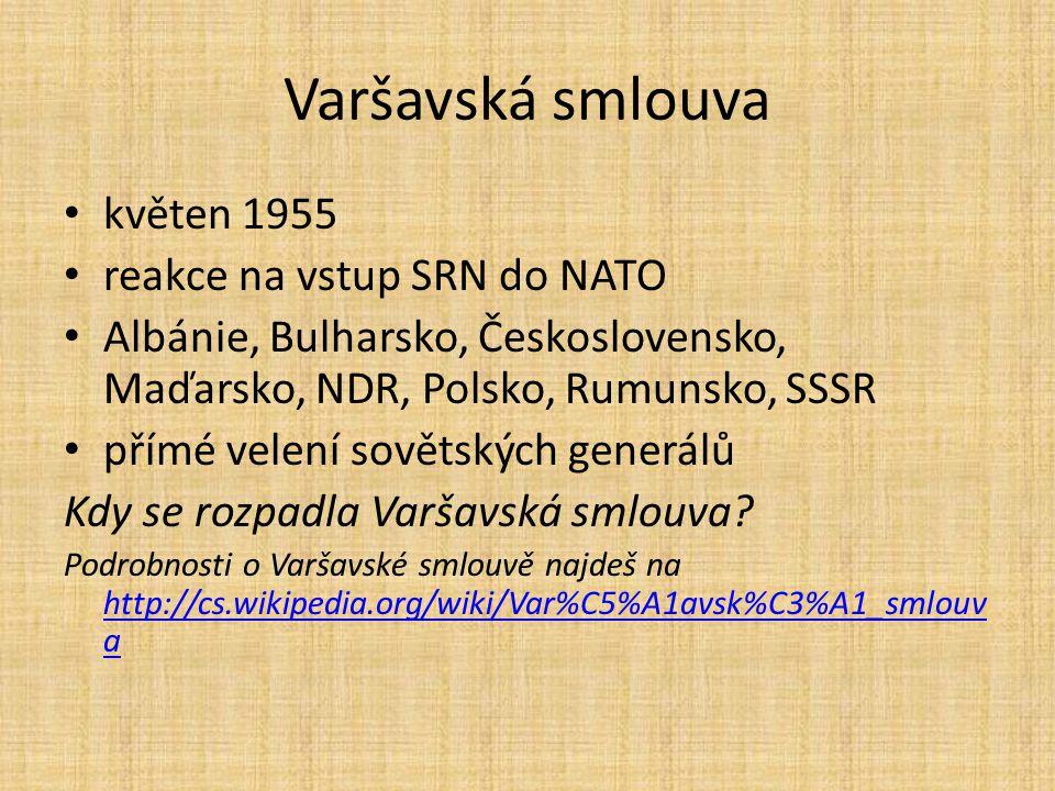 Varšavská smlouva květen 1955 reakce na vstup SRN do NATO
