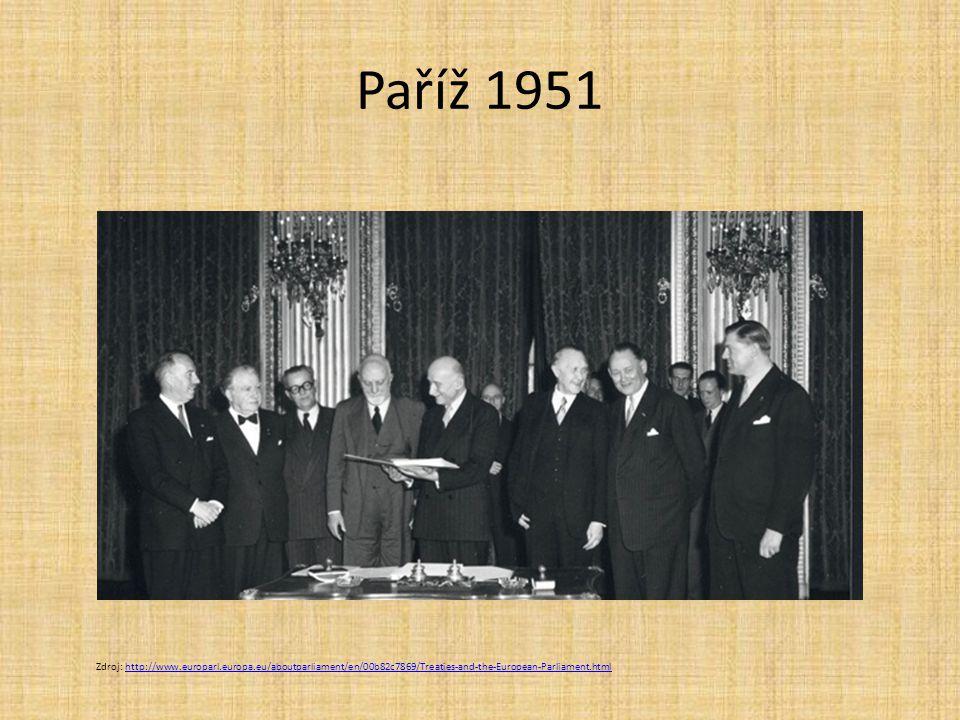 Paříž 1951 Zdroj: http://www.europarl.europa.eu/aboutparliament/en/00b82c7869/Treaties-and-the-European-Parliament.html.