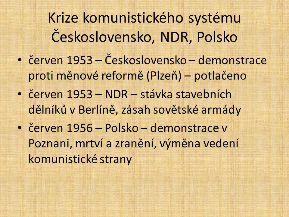 Krize komunistického systému Československo, NDR, Polsko
