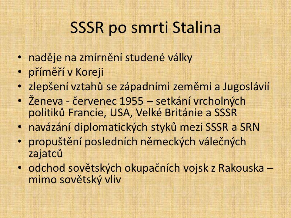 SSSR po smrti Stalina naděje na zmírnění studené války