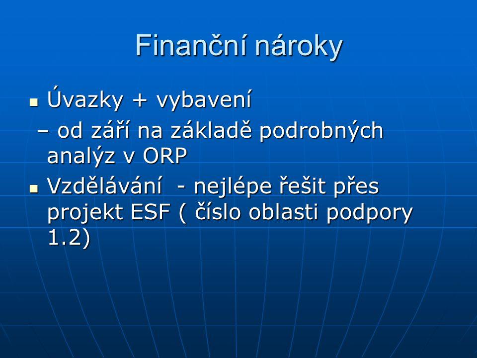 Finanční nároky Úvazky + vybavení