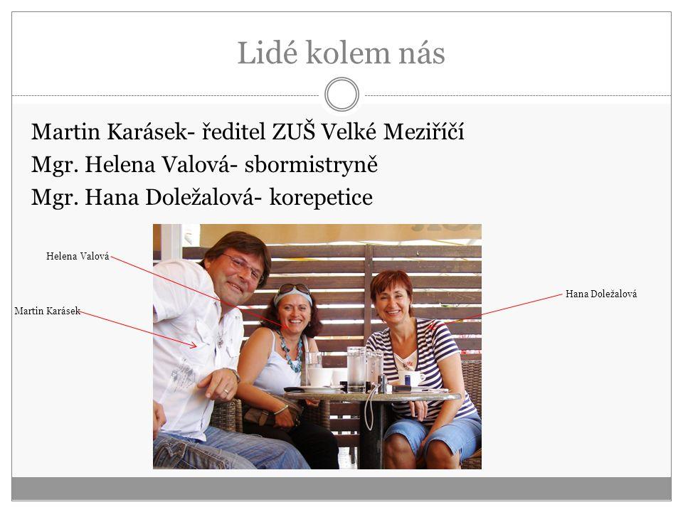Lidé kolem nás Martin Karásek- ředitel ZUŠ Velké Meziříčí Mgr. Helena Valová- sbormistryně Mgr. Hana Doležalová- korepetice