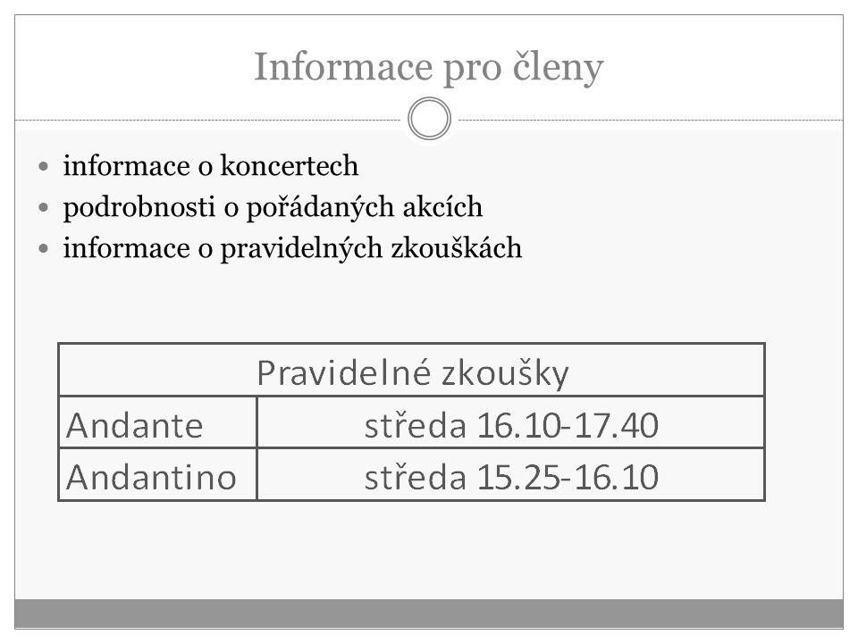 Informace pro členy informace o koncertech