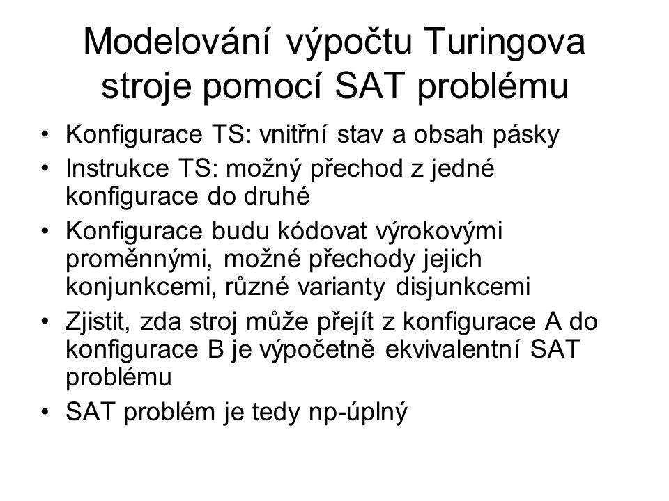 Modelování výpočtu Turingova stroje pomocí SAT problému