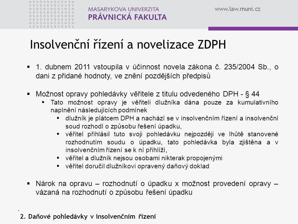 Insolvenční řízení a novelizace ZDPH