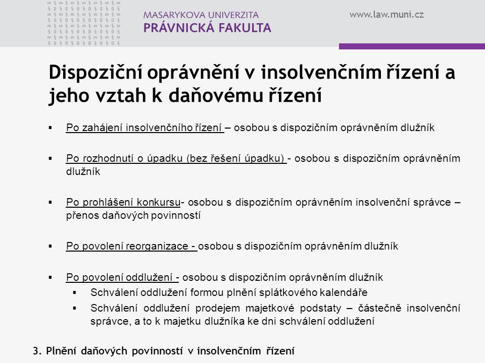 Dispoziční oprávnění v insolvenčním řízení a jeho vztah k daňovému řízení