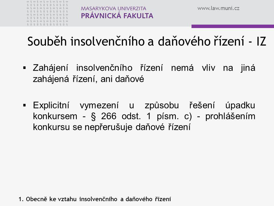 Souběh insolvenčního a daňového řízení - IZ